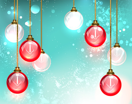 Fashion chandelier with hanging red round glass light bulb glow on the turquoise background. Design with bulbs.