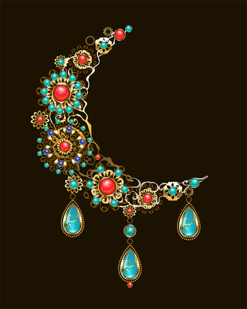 A crescent moon decorated with jewelry, gold and bronze ornaments in ethnic style, with turquoise and jasper. Jewelery in boho style.