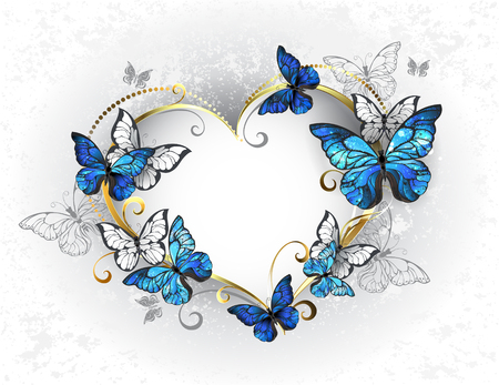 Jeweled, golden heart with blue and white realistic butterflies morpho. Morpho. Design with blue butterflies morpho.