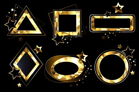 Set of polygonal, shiny, gold banners of different shapes. Geometry. Polygonal golden banners. Illustration