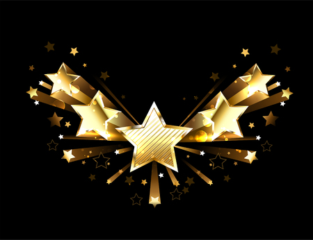 Five, golden, shiny, flying stars on a black background. Design with gold stars.