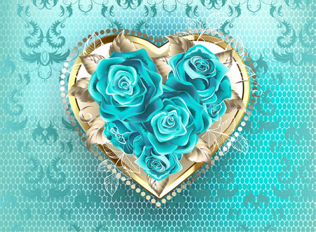 Jeweled heart of white gold, decorated with turquoise roses on a turquoise, lace background. Blue tiffany.