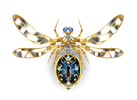 Mechanical insect with steel wings, decorated with gold gears and round sapphires on a white background. Steampunk style. Mechanical insect.  Illustration