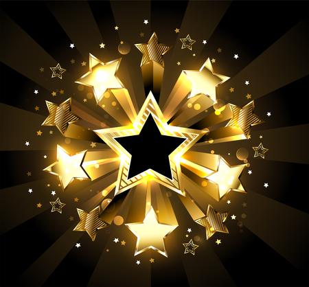 Explosion of golden, sparkling stars on a black background. Golden Star.  Illustration