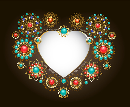 Ethnic frame in the form of a heart, decorated with turquoise and jasper on a dark background. Jewelery in boho style.