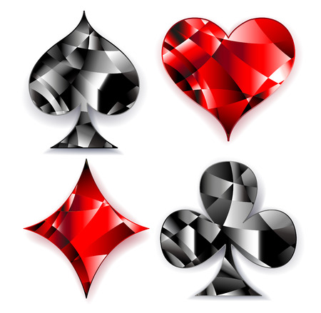 Set of polygonal, shiny, symbols of playing cards on a white background. Symbols of playing cards, heart, diamond, spade and club. Illustration