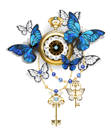 Antique gold watch with blue and white morpho and golden keys.