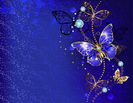 Dark, blue velvety decorated with sapphire Morpho.