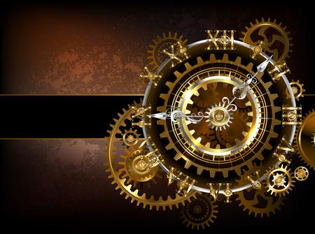 Antieke fantastische horloges met goud en koperen versnellingen op een bruine roestig. Stockfoto - 87211438