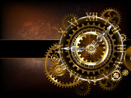 Antique fantastic watches with gold and brass gears on a brown rusty. Illustration