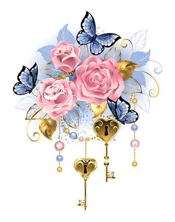 Antique golden keys with pink roses. Illustration