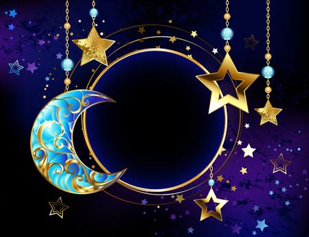 Banner redondo con una media luna de joyas, y estrellas doradas en cadenas de oro sobre un fondo cósmico luminoso. Estrella dorada. Media luna de joyas