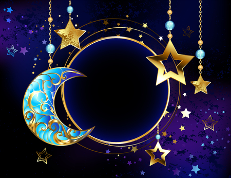Round banner with a jewel crescent, and gold stars on gold chains on a luminous cosmic background. Golden Star. Jewelry crescent.