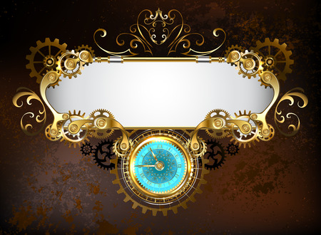 Mechanical banner with an antique clock, decorated with gold and brass gears on a brown rusty background. Illustration