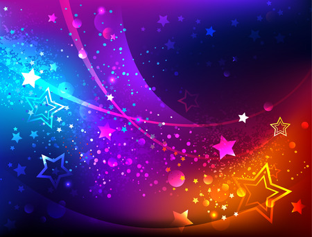 Bright, abstract, iridescent background with luminous stars. Illustration