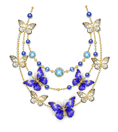 Necklace of gold chains, adorned with blue beads and sapphire butterflies.