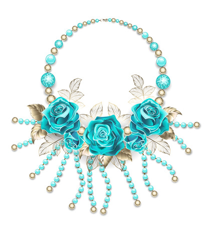 Necklace of turquoise roses, white gold leafs, turquoise and gold beads on a white background.