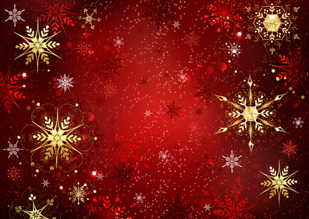 Red Christmas background with gold and red jewelry snowflakes. Illustration
