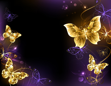 Dark glowing butterflies design. Vettoriali