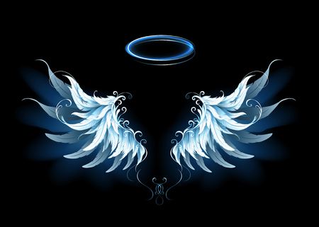 가벼운 예술적 푸른 천사 날개.