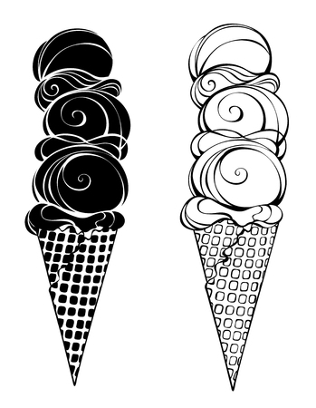 contoured: Two 3 scoop ice cream with waffle cone.