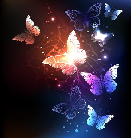 Set of artistic glowing butterflies.
