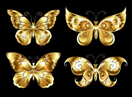 Set of artistic gold butterflies.