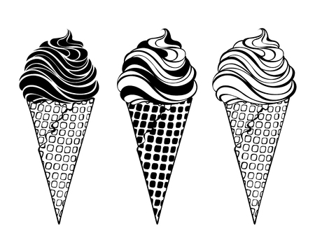 contoured: Three different flavored ice cream in white illustration.