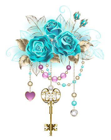 Antique gold key with trendy turquoise roses decorated with leaves. Illustration