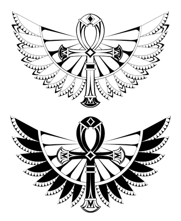 Contoured ankhs with wings on a white illustration.