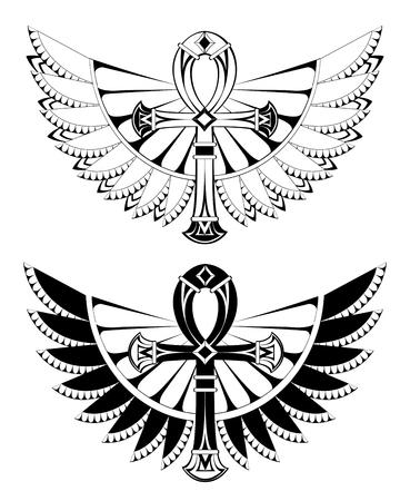 De contouren aangegeven van ankhs met vleugels op een witte illustratie. Stock Illustratie