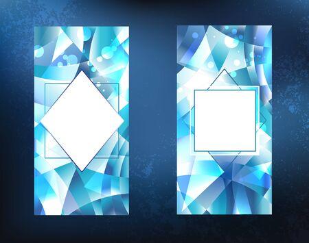 두 결정, 얼음, 파란색,면 처리 된, 어두운 배경에 스파클링 배너. 일러스트
