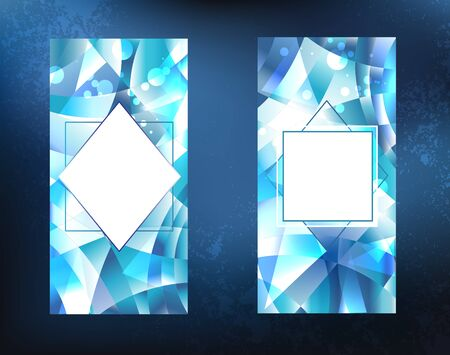 Two crystalline, icy, blue, faceted, sparkling banner on a dark background.
