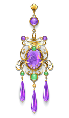 Gold brooch, decorated with amethysts and chrysoprase on a white background. Design of jewelry.