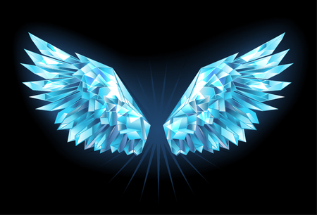 Polygonal, sparkling wings of blue, clear ice on a blue background. Ice wings.