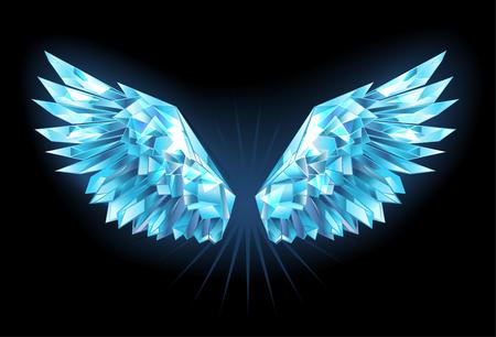 Polygonale, funkelnde Flügel des Blaus, klares Eis auf einem blauen Hintergrund. Eisflügel. Vektorgrafik