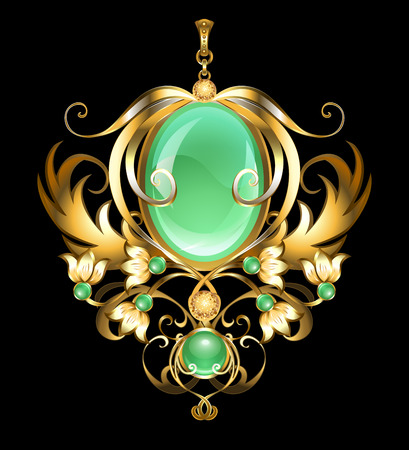 Gold brooch with an oval chrysoprase, decorated with stylized snowdrops on a black background. Design of jewelry.