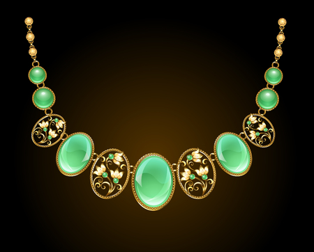 A gold necklace with an oval precious chrysoprase stone and a gold chain on a dark background. Design of jewelry.
