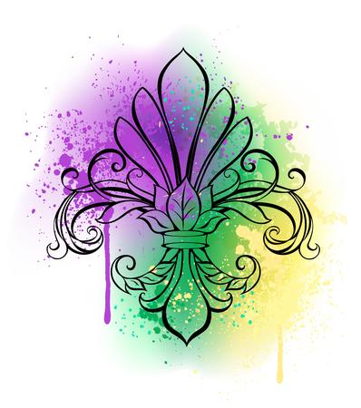 흰색 배경에 컨투어 릴리 보라색, 녹색 및 노란색 수채화 페인트 음영 처리. Fleur-de-lis를 그렸습니다. 지방 화요일