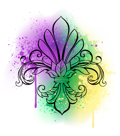 Contour lily on a white background shaded with purple, green and yellow watercolor paint. Painted Fleur-de-lis. Fat Tuesday  Illustration