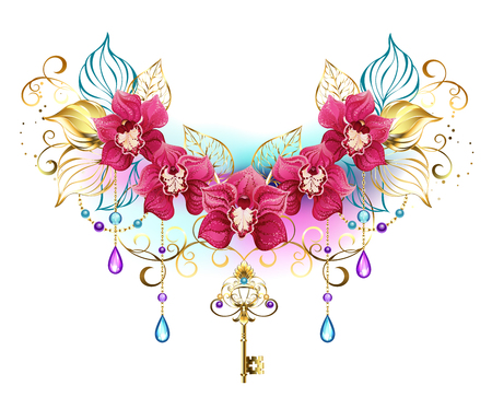 Symmetrical composition of exotic pink orchids with golden leaves and gold chains, decorated with purple and turquoise beads on a white background. Pink orchid. Design of jewelry.