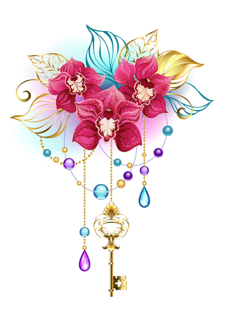 Three artistically painted, pink, exotic orchids with golden leaves and gold chains, decorated with glass blue and purple beads. Pink orchid  Illustration