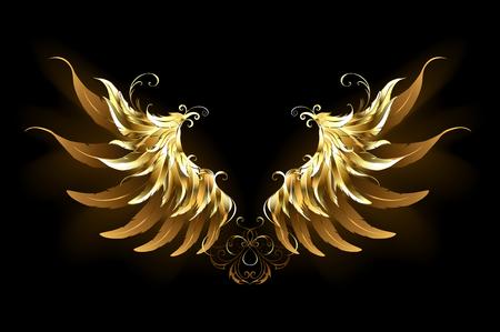 Shiny, golden angel wings on a dark background. Golden wings. Illustration