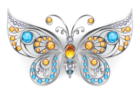 Silver, jewelry butterfly, decorated with amber and larimar on a white background. Design of jewelry. Larimar and Amber  Illustration
