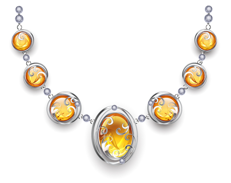 Stylish, silver necklace, decorated with amber and silver beads. Design of jewelry. Necklace with amber.  Illustration