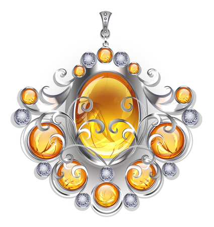 Silver pendant with oval and round amber gemstones on a white background. Design of jewelry.
