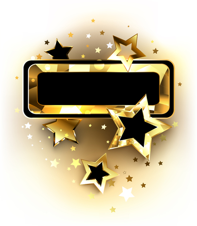 Small dark banner with a gold polygonal frame and golden shiny stars on a white background. Golden Star.  Illustration