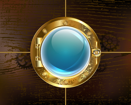Antique, round porthole with durable glass on a brown wooden background. Antique porthole. Stock Illustratie