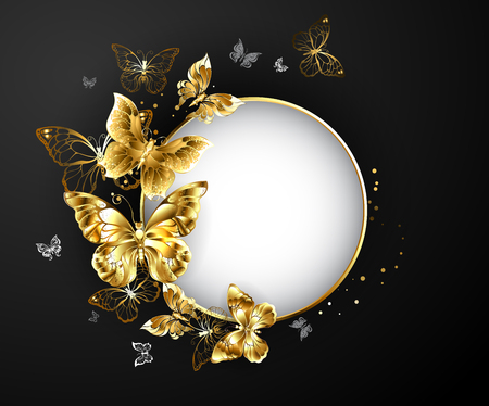 Round banner with gold frame, decorated with gold jewelry butterflies on a black background.  Golden Butterfly. Design with butterflies.