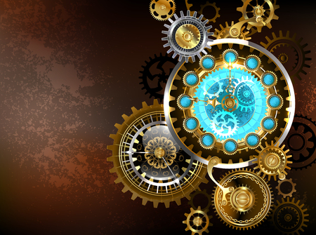 Composition of unusual antique watches and gold and brass gears on a brown, rusty background. Steampunk style.